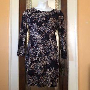 Navy paisley print dress